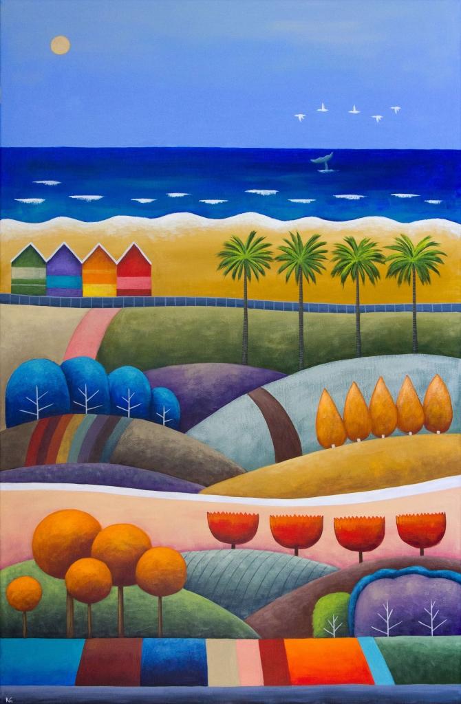 Boho Beach Huts 24x36 inches